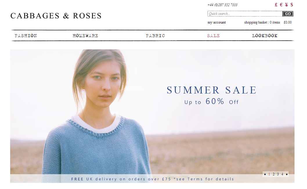 Cabbages and Roses Ecommerce Website