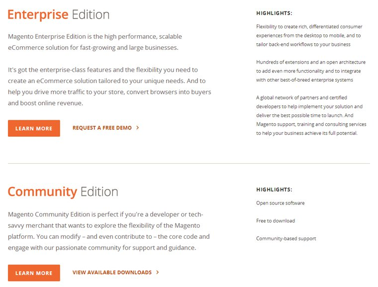 Magento Enterprise and Community
