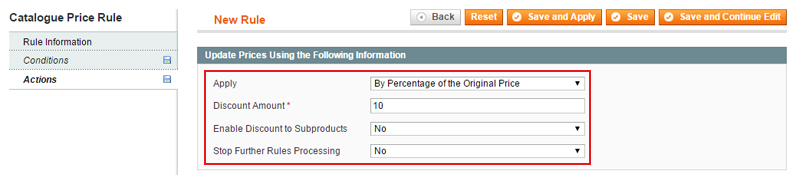 magento catalog price rules actions