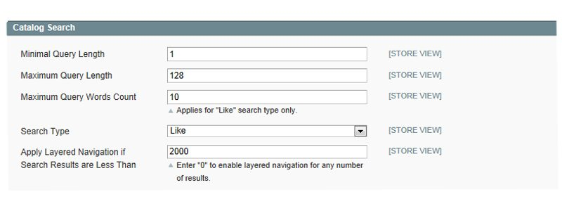 Search configuring settings in Magento allow you to set restrictions of query length as well as selecting the search type.