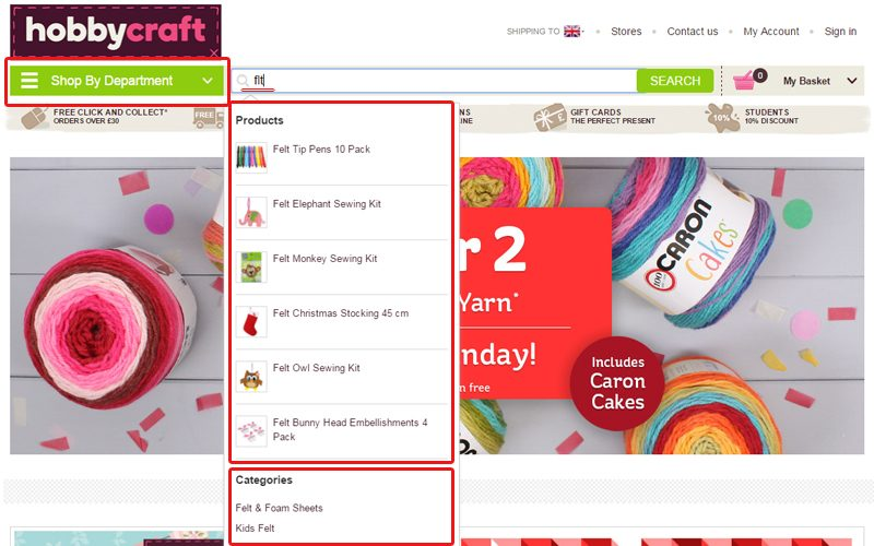 Hobby craft offer smart search with auto correct, suggested search and refining search features.