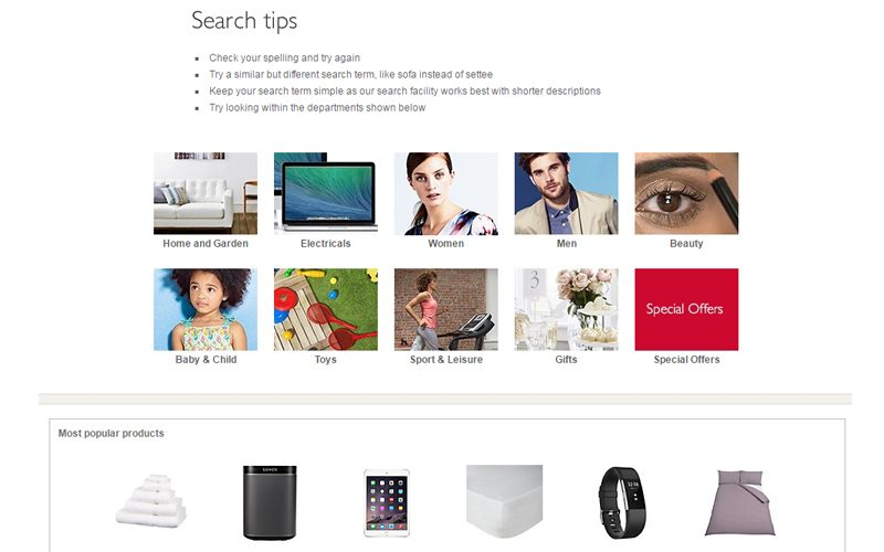John Lewis will return alternative products if they can detect a spelling mistake, or search tips with popular products if no results can be found.