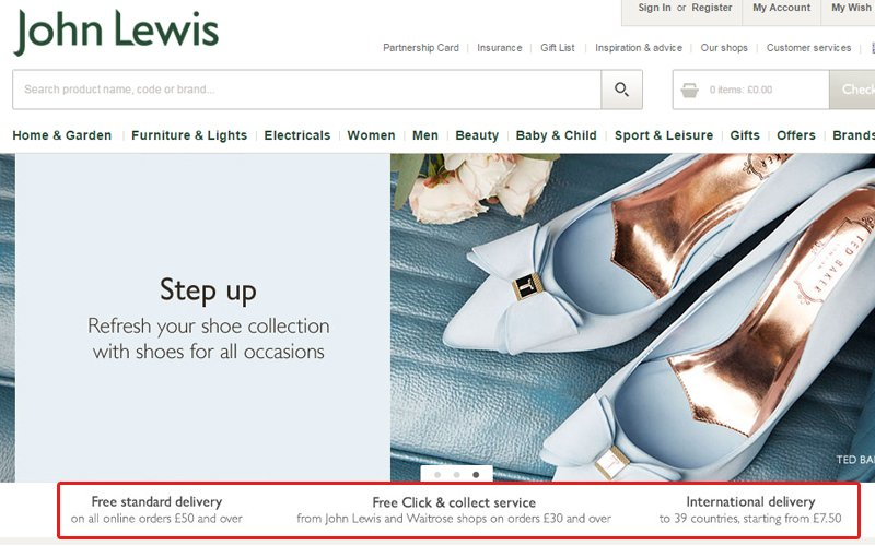 John Lewis displays their most attractive delivery options directly below their homepage banner.