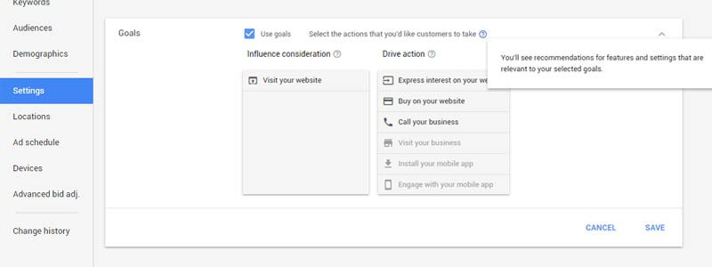 You can set goals for each campaign to drive certain actions, and AdWords will then provide recommendations and account changes to help you meet your goals.
