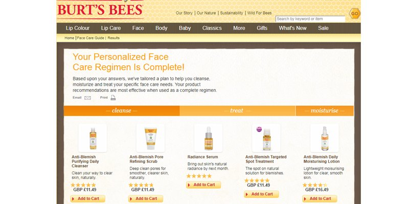 Personalised content like this quiz from Burt's Bees can be used to make product recommendations and enhance the user experience, perfect for SMEs competing with retail giants online.