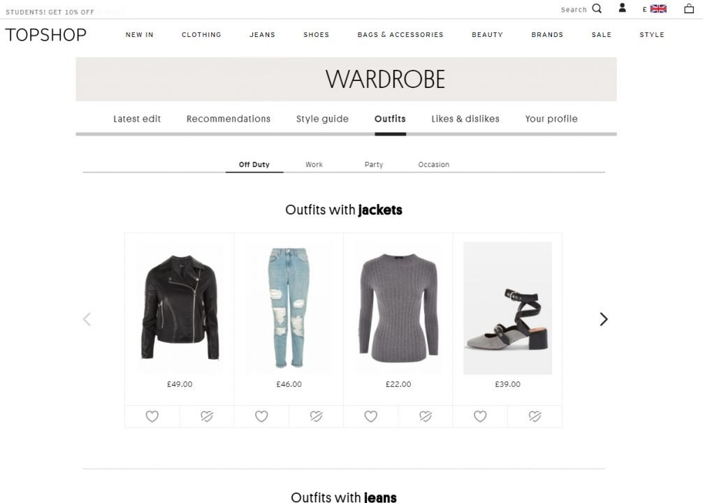 Topshop use a curated commerce technique to recommend personalised outfit suggestions that customers can purchase together.