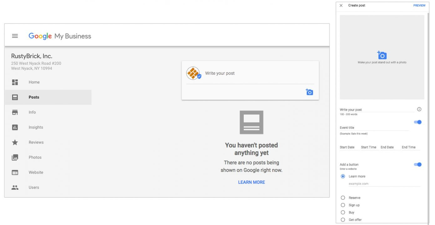 It's easy to find and start creating your own post in the Google My Business dashboard.