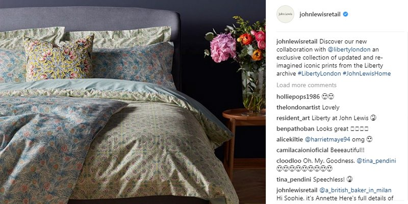John Lewis is a well known business on Instagram for their collaborations which is great for boosting reach and engagement.