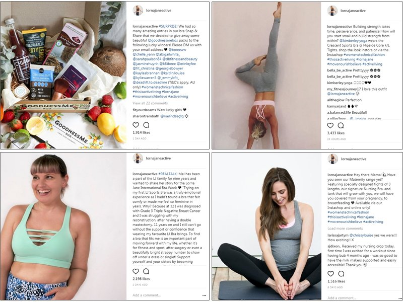 Lorna Jane is a fitness brand with a clear goal on Instagram to communicate their brand identity and relate to their target audience but uses a mix of content and campaigns.