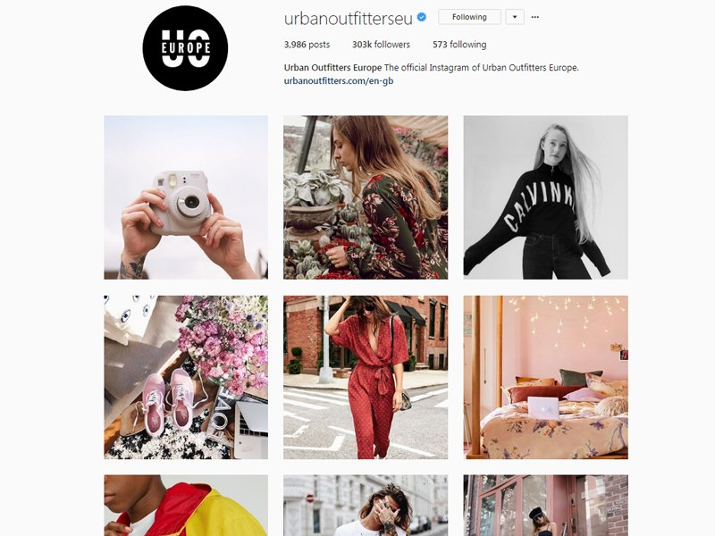 Urban Outfitters to a clear story through their Instagram images, the story of the lifestyle their target audience hopes to achieve, yet uses each post to promote a product.