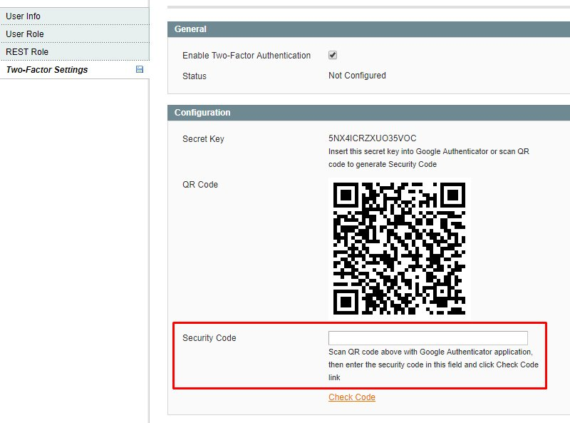 Magento Two Factor Authentication
