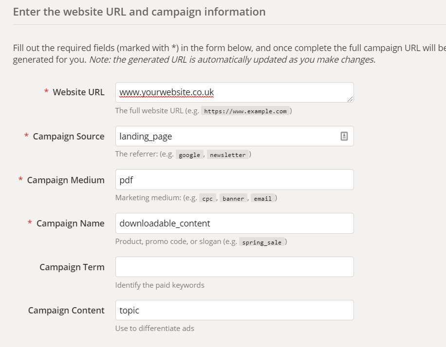 URL build lets you set customer parameters when sharing or posting links